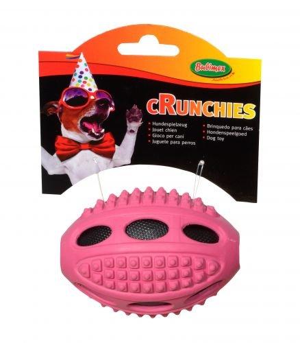 Bubimex Crunchies Rugbyball Naturgummi m. Nylon-Plüschfüllung Ø 10 cm