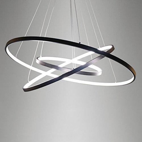 derne Kronleuchter, kreative Esszimmer Wohnzimmer Ring Aluminium Deckenleuchte, 3 Ring LED Runde hängende Lampe, wechselnde Form einfache Kunst Kronleuchter, schwarz (Gefrorene Ringe)