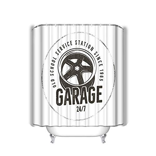 BAOLANZHANG Shower Curtain Garage Old School Service Station Label Vintage Design Complete Auto Repair Typography Print Custom Stamp 60 * 72 inch
