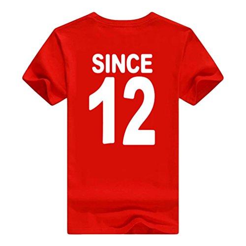 NiSeng Paare Shirt Casual Pärchen Drucken Kurze Ärmel T-Shirt Sommer Herren & Damen T-Shirt Rot Weiß1
