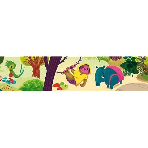 Wandpiraten - Bordo autoadesivo per carta da parati, motivo: Zoo ABC, 450 x 15,5 cm - Abc Zoo