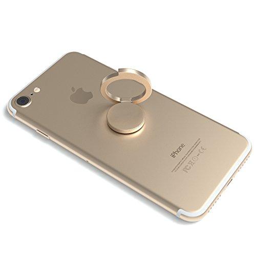 erhalterung, 360° drehbar, für vereinfachte Einhandbedienung, Handy Halterung, Smartphonehalter, Finger Halterung von EAZY CASE, Gold (Finger-ring-display)