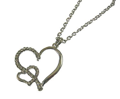 Kristall mit Silber Finish Twin Herz Love Fancy Dress Halskette Anhänger Geschenk Kostüm Schmuck (Teenage Kostüm Schmuck)