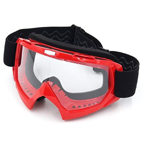 Epinki Herren TPU+PC Schutzbrillen Staubdicht Motorradbrillen Radsportbrille Skibrille Winddicht Outdoor Schutz Brille für Skifahren Schneemobil Motorrad Fahrrad, Hell Rot Klar