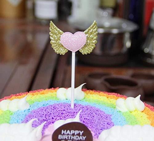 BRZM Partyrequisiten Engels-Flügel-Kuchen-Kuchen-Nachtisch-Tabellen-Papier-Backen-Kuchen-Einsatz für Geburtstagsfeier-Weihnachtskuchen-Dekor ( Farbe : Gold )