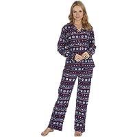 Best Deals Direct Ladies Check Print Long Sleeve Fleece Pyjamas Thermal Lounge Wear (Medium (12-14), Nany Fairisle)