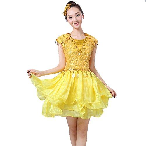 Wgwioo Moderne Frauen Mode Pailletten Kurzen Quadratischen Tanz Bühnenöffnung Performance Kostüme Chorus Stage National , Yellow , (Kostüm Girl Chorus)