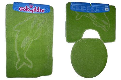 Badgarnitur 3-Teilig Badmatte Bad Set 85x55cm Hänge WC Delfin mit Ausschnitt (Pistazien grün)