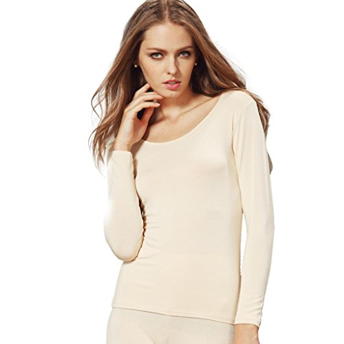 Liang Rou Women's Plain Basic Crew Neck Neck Stretch Long Sleeve Ultra Thin Thermal Top Test