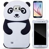 Semoss 2 en 1 Accessories Set Negro Panda Funda Silicona Carcasa Case Para Samsung Galaxy S6 Soft Bumper Gel Cover Protective Piel Skin con Protector Pantalla