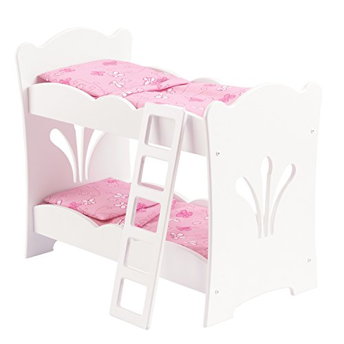 KidKraft 60130 Lil' Doll Bunk Bed - White Wooden Bunk Bed with Pink Bedding , bedroom furniture accessory for 45cm / 18 inch dolls