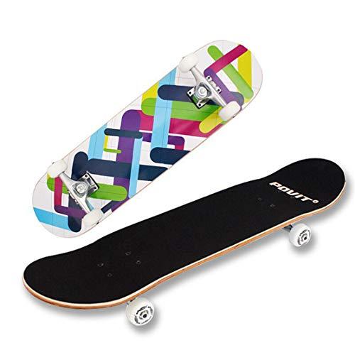HIOD Skateboard 9 Schicht Ahorn Deck 5331-PU Rad ABEC-7 Carbon Stahl Lager 79 * 20cm -