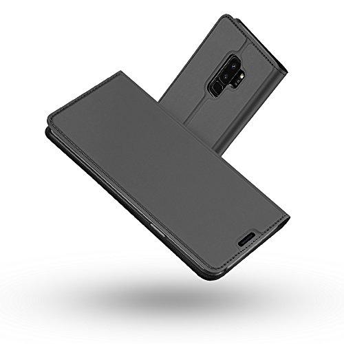 Galaxy S9 Plus Hülle,Radoo® Premium PU Leder Handyhülle [Ultra Slim][Kabelloses Aufladen Unterstützung] Brieftasche-stil Magnetisch Folio Flip Klapphülle [Transparenter TPU Stoßfänger] Etui Brieftasche Hülle [Karte Halterung] Schutzhülle Tasche Case Cover für Samsung Galaxy S9 Plus (Schwarz grau) (Position Funktionelle)