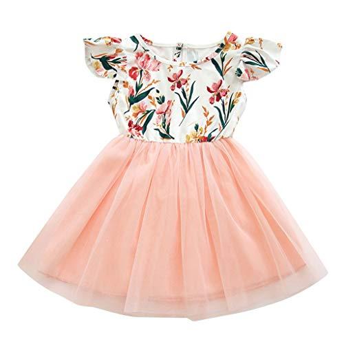 Koojawind Kleinkind-Kind-MäDchen-Kurzschluss-HüLsen-Blumen-Spitze-Partei-Prinzessin Dress Clothes, Baby-Sommer-BallettröCkchen-Freizeitkleid Floral Baby Doll Dress