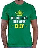 HARIZ  Herren T-Shirt Chef Chef Arbeit Mitarbeiter Abschiedsgeschenk Inkl. Geschenk Karte Grün XL