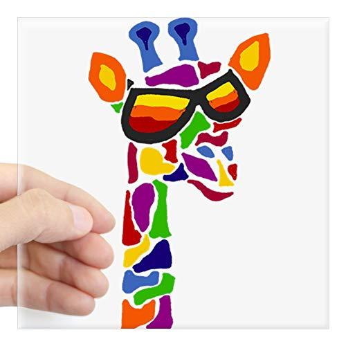 CafePress Aufkleber Giraffe in Sonnenbrille Large - 5x5 farblos