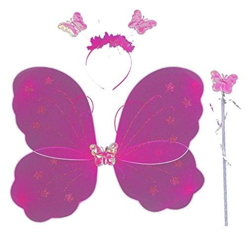 rinzessin Schmetterlingsflügel Stab Stirnband 3 PC Spiel Kostüm Halloween-Partei Rolle 4038cm Gesetzt Eine Größe Rose Rot (Gute Halloween-pc-spiele)