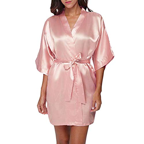 Strung Damen Morgenmantel Kimono Satin Kurz Robe Bademantel Nachtwäsche Sleepwear V Ausschnitt mit Gürtel Frauen Schlafanzug Unterwäsche Sexy Pyjama Reizvolle Lingerie Pyjama (Rose,L)