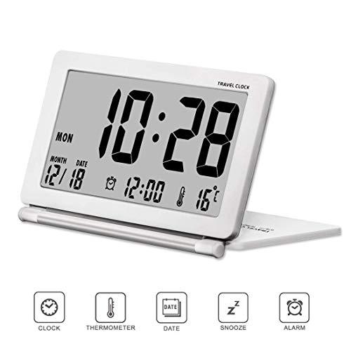 Kleine digitale Wecker Batterie betrieben für Reisen mit Datum, Temperatur, wiederholte Snooze und Lederbezug