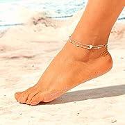 9eb2a17c73830b Jovono Boemia semplice bracciali cavigliere Ciondolo d'amore multistrato cavigliera  catena piede catena per donne e ragazze (argento)