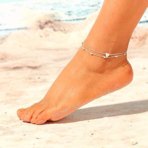 Jovono Boho Perlen Fußkettchen Mode Mehrschichtige Herz Fußkettchen Armbänder Strand Fuß Schmuck für Frauen und Mädchen (silber)