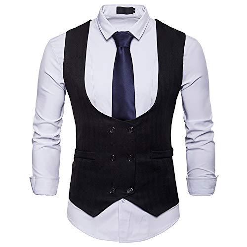 Sannysis Anzugweste Herren Herbst Winter Formale Zweireiher Weste Slim Fit Hochzeit Feierlich Elegant Weste Jacke Top Coat