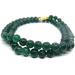 HImalaya Rudraksha Kendra 100 % Original Emerald Green Coloured Jade Gemstone Beads 6.5 MM Chain Mala Statement Necklace for Women / Girls