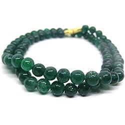 HImalaya Rudraksha Kendra 100 % Original Emerald Green Coloured Jade Gemstone Beads 6.5 MM Chain Mala Statement Necklace for Women / Girls