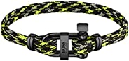 BOSS by HUGO BOSS Men's Ionic Plated Black Steel & Black and Green Cord Bracelets -