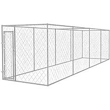vidaXL Perrera para Exterior 8x2 m Acero Galvanizado 16 m² Jaula de Perros