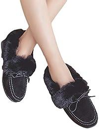 MYMYG Damen Kurz Winter Stiefel Casual Ankle Boot Mode Frauen Flache Stiefel Peas Schuhe Plus Samt Baumwolle Schuhe Schneeschuhe Kurz Stiefeletten Flache Booties