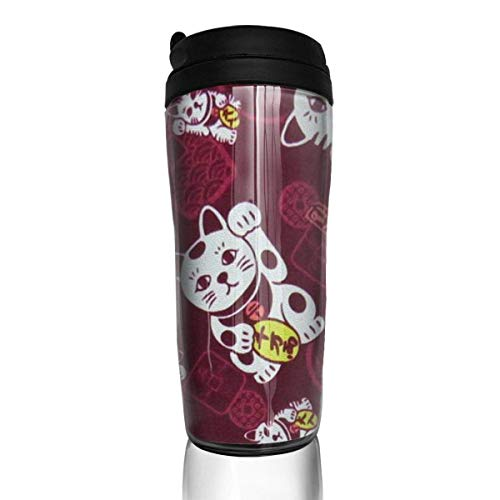 Travel Coffee Mug Lucky Cat 12 Oz Spill Proof Flip Lid Water Bottle Environmental Protection Material ABS