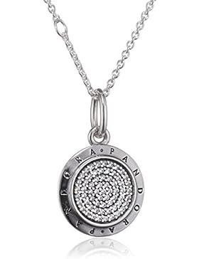 Pandora Damen-Kette mit Anhänger Logo 925 Silber Zirkonia weiß 70 cm - 390375CZ-70