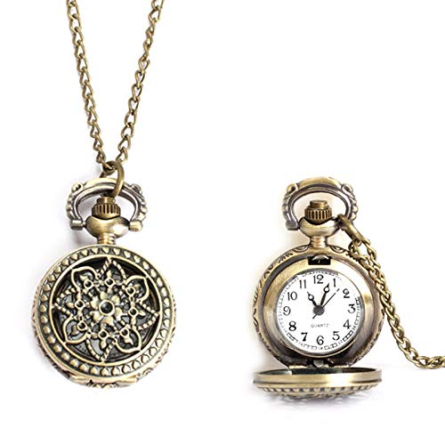 a908429c1fda Coomir Mujeres Hombres Reloj de Bolsillo Vintage Pequeño Tamaño Lotus  Hollow out Cuarzo Reloj Collar Cadena