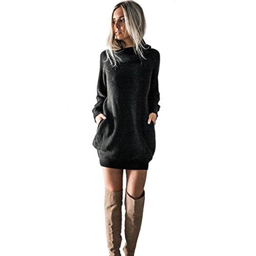 Roll Hals Jumper (OVERDOSE Damen Strickkleid Roll Neck Jumper Kleid Damen Lang Shirt Lange Ärmel Bluse Mini Dress (A-Black,EU-38/CN-M))