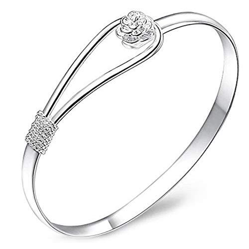 Wudi 925 Sterlingsilber-Rosen-Blumen-Armband-Armband-Schmuck versilbert feste Armbänder - Armreif Modekette