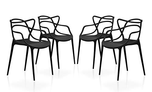SuenosZzz - Pack sillas (x4) Flex Color Negro, para Comedor o Cocina | Sillas de Polipropileno | Conjunto de sillas Modernas | Sillas plasticas | Muebles de Cocina