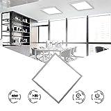HOMEDEMO Deckenleuchte LED Panel 62x62cm Ultraslim Modern 40W Kaltweiß 6000K Deckenlampe für Schlafzimmer Kinderzimmer Wohnzimmer Wandleuchte innen mit Befestigungsmaterial und Trafo Silberrahmen