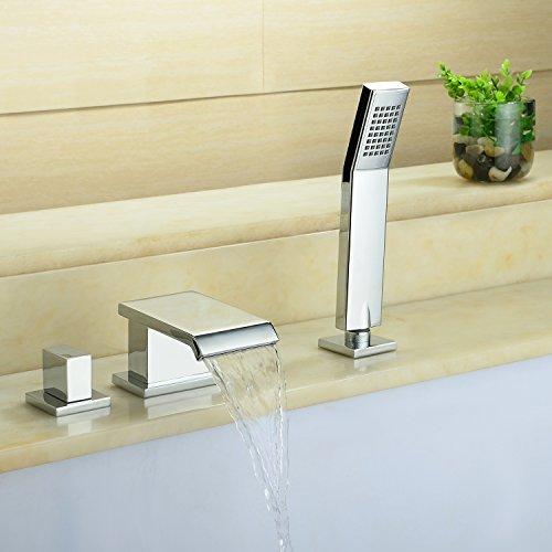 3 Loch Einhebelmischer Wannenarmatur Wannenrand Wasserhahn Badewanne Armatur Aufsatzmontage mit ausziehbarer Handbrause Duscharmatur Wasserfall