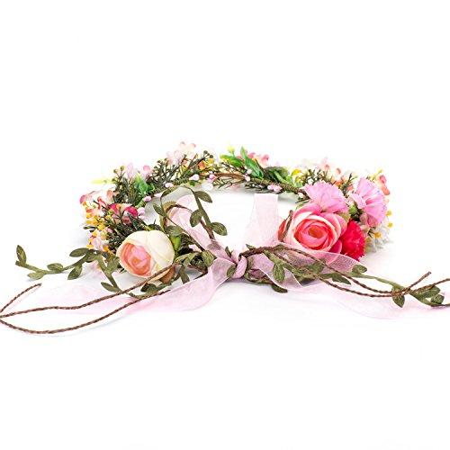 OKBO Frauen Mädchen Seide Garn blumen Krone Haarschmuck BlumenKranz Haare Stirnband Garland,Hochzeit Festival Braut Haarkranz Blumenstirnband Lässige Outdoor Strand Party Erwachsene oder Kinder
