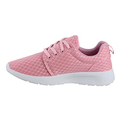 Elara Damen Herren Sneaker | Unisex Sport Laufschuhe | Fitness Runner | Turnschuhe | Chunkyrayan Pink Boston