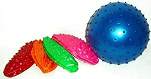 82790, 4 Stück Stück Noppen Aufblasbälle 16 cm, toll als Fussball,...