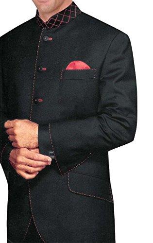 INMONARCH Hombres negro traje Nehru Boda 5 Botón-3 Pc