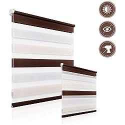 HOMEDEMO Doppelrollo Klemmfix Duo Rollo ohne Bohren mit klemmträger Rollo für Fenster und Tür Kinderzimmer 60 x 150 cm Weiss-Beige-Braun