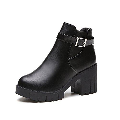 Thick-soled de chaussures pour l'automne/hiver/Bottes talons chunky plate-forme courtes/Martin bottes, talons hauts A
