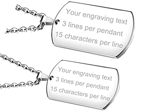 OPK Jewellery Free Laser Engraved 2 Piece Stainless Steel Pendant