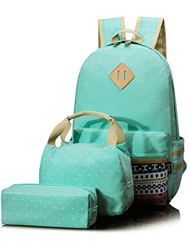 Leaper Causal Style Lightweight Canvas Laptop Bag School Backpack + Lunch Bag + Pen case Large Water Blue