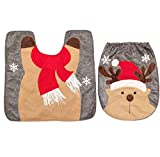 KIEYY Frohe Weihnachten WC Sitzbezug und Mat Festival Badezimmer verkleiden sich Dekor zweiteilige Weihnachten Weihnachtsmann Schneemann Elch Dekor