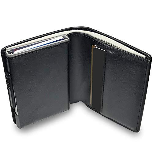 KOOGOO Cuero Tarjetero RFID Cartera Crédito,Slim y pequeña Portatarjetas extraíble para Identificación Tarjetas Crédito Licencia de Conducir,Cartera Inteligente de Piel auténtica (Black)