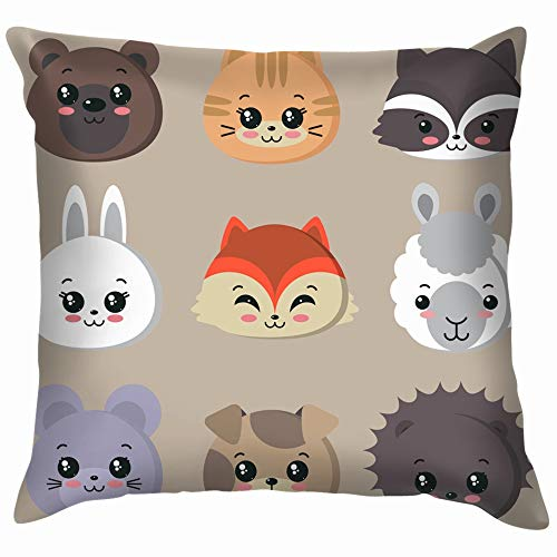 beautiful& Collection Cute Animal Faces Bunny Animals Wildlife Funny Square Throw Pillow Cases Cushion Cover for Bedroom Living Room Decorative 18X18 Inch